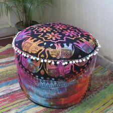 "22""Inch Pouf Ombre Mandala Floral Ottoman Round Cover Handmade Multi Cotton"