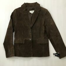 Women's Small Suede leather jacket blazer BROWN Wilson Leather MINT!