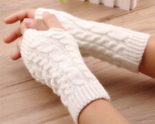 Femme Hiver Tricoté Crochet Gants Chaud Mitaines Poignet épais Souple Fashion