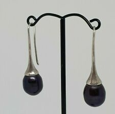 Pearl teardrop Earrings - Black pearls with Sterling Silver Hardware