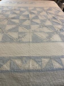 Vintage Hand Quilted Blue Chambray  & White Hunters Star Quilt 99x90 queen #782