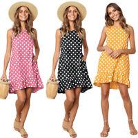 Women Polka Dot Print Skater Retro Doll Ruffle Hem Swing Dress Summer Beachwear