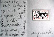 A.R. PENCK, Rufnot 1992, original signiert, Siebdruck, mit Original Telefonkarte