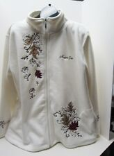 Fleece Jacket XL Full Zip Front Niagara Falls Leaves Appliques Embroidery Ivory
