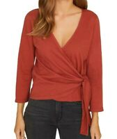 Sanctuary Womens Blouse Sedona Red Size XXS Emelie Textured Wrap $59- 138
