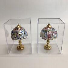 Reutter Porcelain Miniature Dollhouse Set Of TWO Fancy Victorian Lamps 1:12