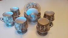 tazzine in ceramica da caffè capodimonte profilate e con manico in argento