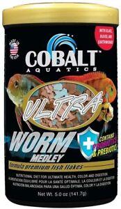 5oz Cobalt Ultra Worm Premium Fish Flake, FREE 12-Type Pellet Mix Included