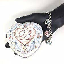 Brighton Charm Bracelet  Hearts Blue & Pink Silver Tone