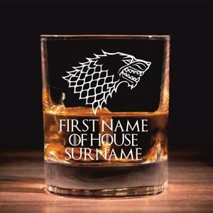 Personalised House Stark Game of Thrones Inspired Whisky Glass