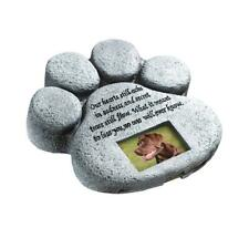 "ETC Paw Print Pet Outdoor Memorial Stone, with 2""x3"" Picture Frame and Tribute"