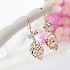 Chic Large Filigree Leaf Zircon Dangle Drop Earring Women Girls Jewelry