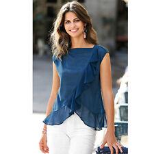 Tee-shirt manches courtes volant contrasté femme - 112625