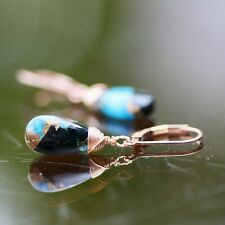 Natural Obsidian Copper Turquoise Earrings 14k Rose Gold Filled