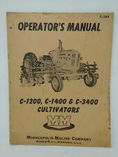 Minneapolis Moline C1200 C1400 Amp C3400 Cultivators Repair Manual 1958