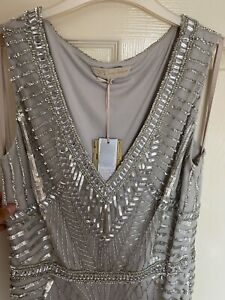 DESIGNER JENNY PACKHAM EVENING DRESS RRP £225 SILVER UK SIZE 14