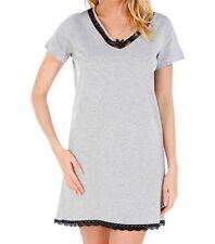 chemise de nuit avec dentelle gris chiné/noir taille L (42/44) - neuve