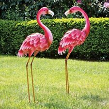 2 Pcs Flamingo Metal Sculpture Garden Statue Outdoor Patio Lawn Decor Life Size