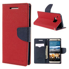 Korean Mercury Fancy Diary Wallet Case Cover for HTC One M9 - Red