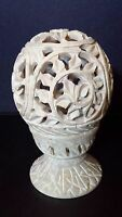 Marble Stone Candle Holder Hand Carved Lattice Work Candle Holder NEW