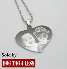Love Heart Dogtag Pendant Stainless Steel Necklace FREE Engraving Christmas Gift