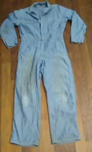 Vintage Mens Sz Small Jean Denim Coveralls Distressed Destroyed Blue Grunge Hobo