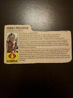 GI Joe 1985 Cobra La Cut File Card Cardback Only Cobra Frogman Eels