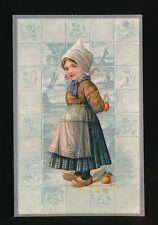 Netherlands Children Dutch girl apples Embossed c1920/30s? PPC