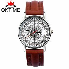OKTIME compass geometric fashion women mens leather watch casual dress watch