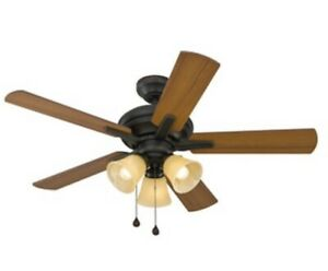 """Harbor Breeze, 42"""" Aged Bronze Reversible Blades Ceiling Fan w Amber Light Shade"""