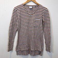 CAbi Skipper T-Shirt Hi Lo Hem 100% Cotton Long Sleeve V Neck Pocket Stripes S