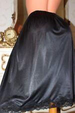 (Ref 16) Black Sleek Soft Nylon & Lace Ladies Waist Slip Size 20-22