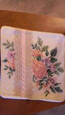 "Handmade 11"" Elsa Williams Wool Needlepoint Pink Ribbon Rose Pillow Jca New Usa"