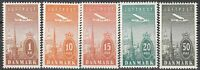 Stamp Denmark Sc 6-10 1934 Towers of Copenhagen Airmail Airplane MNH
