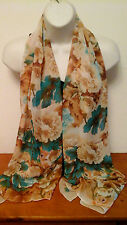 TONAL BROWN/BEIGE/TURQUOISE BUSY FLORAL PRINT CHIFFON SCARF
