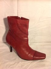 Faith Red Ankle Leather Boots Size 5