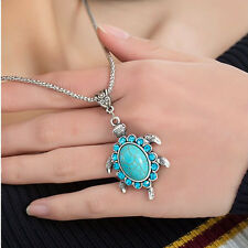 Women Boho Turquoise Rhinestone Turtle Pendant Vintage Chain Necklace Beauty