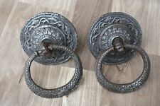 Vintage Original Iron Knocker Door Knobs Pull Rustic Antique Look Knob Bell 2pic