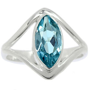 Blue Topaz 925 Sterling Silver Ring Jewelry s.7.5 BR99597