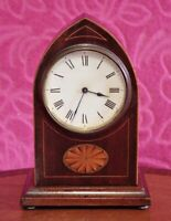 Antique French 8-Day Balance Wheel Solid Oak Case with Inlaid Desk Clock