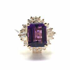 14k Yellow Gold Natural Diamond and Amethyst Ring