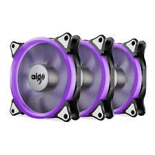 Pack of 3 Aigo 120mm 12cm Halo Ring Neon PURPLE LED Computer PC Case Cooler Fan