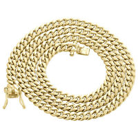 Mens 10K Yellow Gold Hollow Miami Cuban Link Chain 5.50mm Box Clasp 20-30 Inches