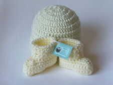 OBE Crocheted 0-3 Months Beanie Hat and Booties Set Pastel Yellow Color