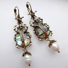 Scarab Beetle Skull Earrings Leverback Pearl Rhinestone Vintage Style Gold