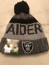 Oakland Raiders Beanie Cap Hat Nfl Football New Era Cuffed Knit On Field