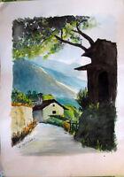 Acquerello '900 su carta Watercolor-Strada di campagna-firmato A.Bergamo (92)