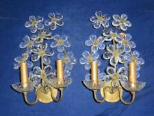 French Maison Bagues Style Clear Flower Prisms Pair of Sconces