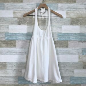 Victorias Secret Terry Cloth Swim Cover Up Dress White Halter Womens Small