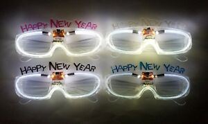 4-Light Up multicolor Happy New Years Eve Party Glasses LE Glowing 2019
